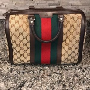 SOLD Vintage Web Original GG boston Bag